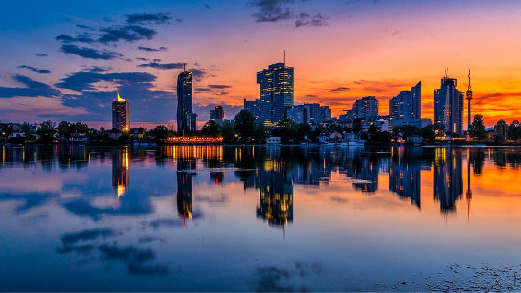 Skyline Wiens bei Sonnenuntergang