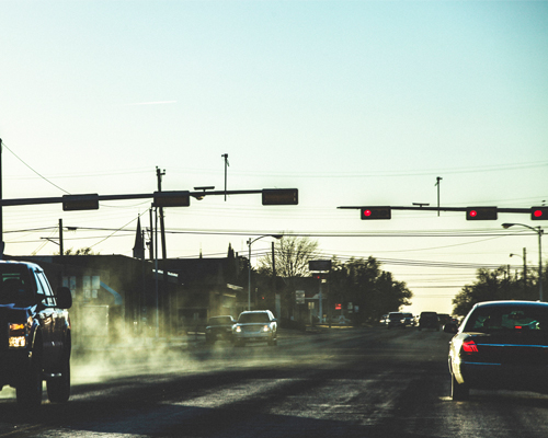 An intersection in the USA. Traffic signals could soon be communicating with vehicles