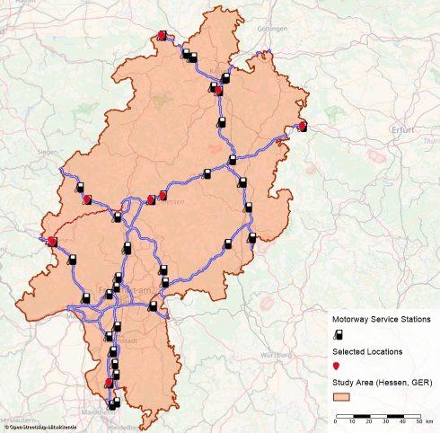 Standortbewertung für die E-Tankstellen-Ladeinfrastruktur in Hessen.