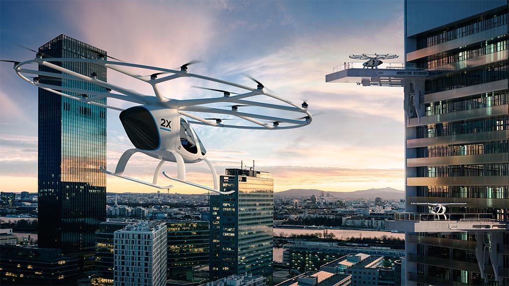 Flugtaxi Volocopter zeigt wie die Mobilität der Zukunft aussehen könnte.