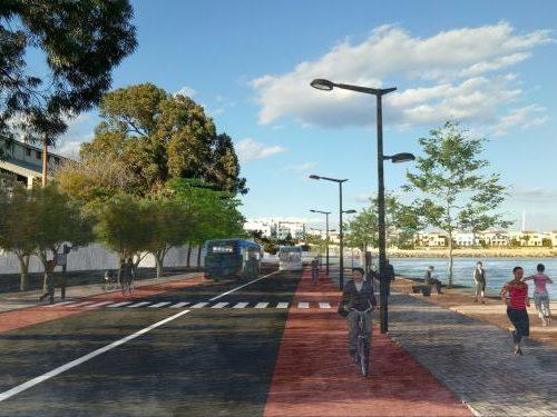Immagine del lungomare di Limassol con priorità per pedoni e ciclisti