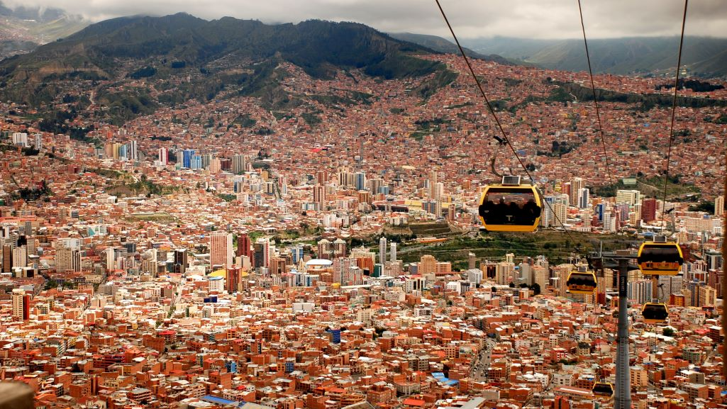 Cable cars in La Paz, Bolivia